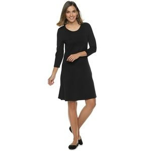 Dana Buchman Paneled Fit & Flare Sweater Dress